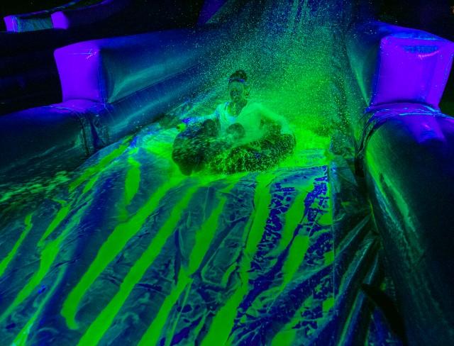 Come enjoy a the neon blacklight slide