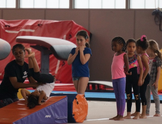 Children enhance their balance and strength at Aviators tumbling and trampoline class