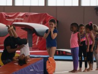 Athletes learn tumble track technique at Aviators tumbling and trampoline