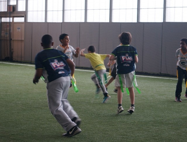 FLag football is a great choice for sports birthday parties