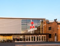 The front door of Aviator Spots and Events Center in Brooklyn