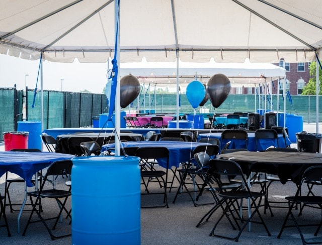 Tables set up for a kids pool party in Brooklyn