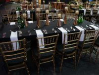 Dressed table at a field house event