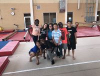 Kids in the gymnastics area at Aviator summer camp in Mill Basin, Brooklyn