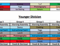 Younger Division Summer Camps Schedule