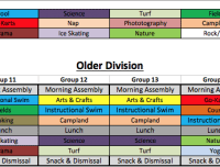 Older Division Summer Camps Schedule