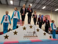 an aviator children's gymnastics team on the winners podium