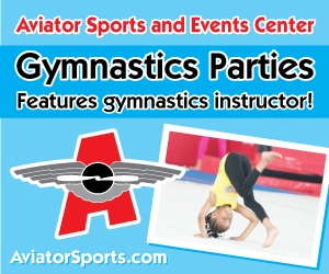 gymnastics birthday party advertisement featuring a gymnastic instructor