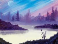 paint nite, paint nite october, moonrise morning