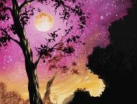 Starry Moonlit Tree, paint nite