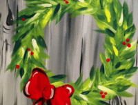 holiday red bow wreath, paint nite
