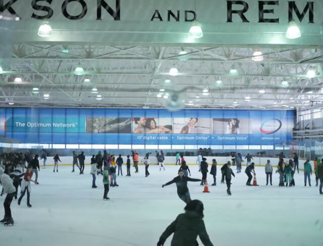 People ice skating at Aviator Sports in Brooklyn
