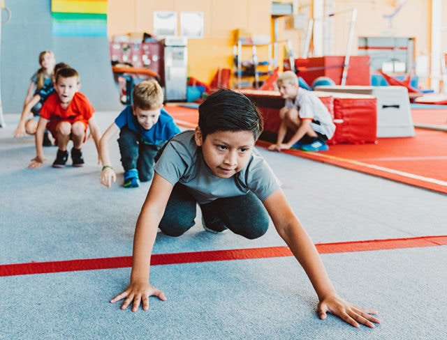 Kids crawl and learn parkour at Aviator in Brooklyn