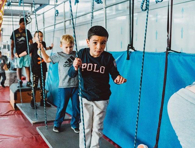 Kids run a Ninja Warrior course in Brooklyn