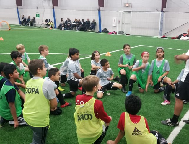 school age kids soccer clinic at aviator sports