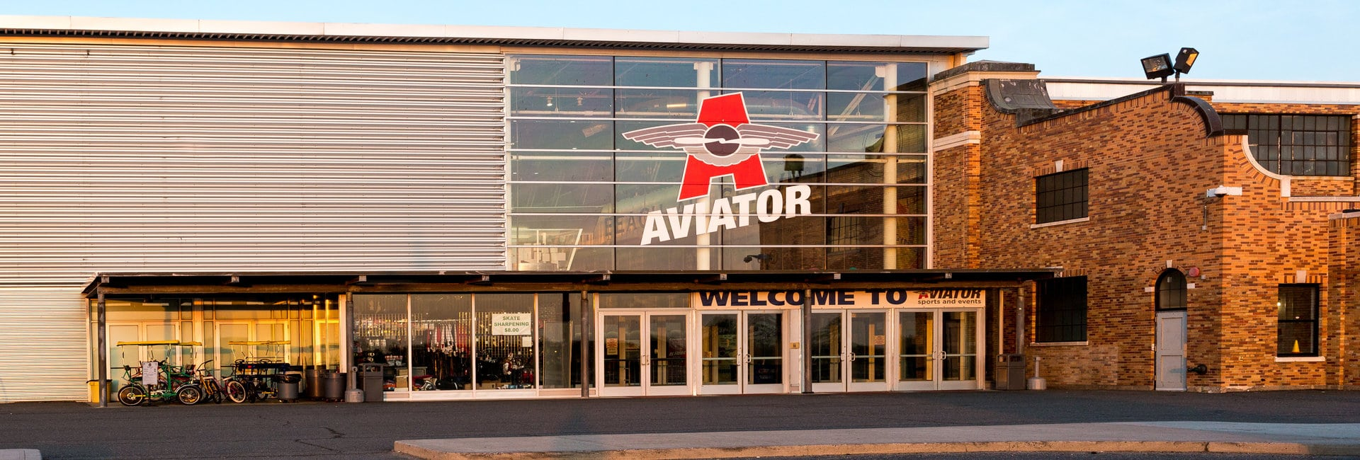 Front entrance of Aviator Sports