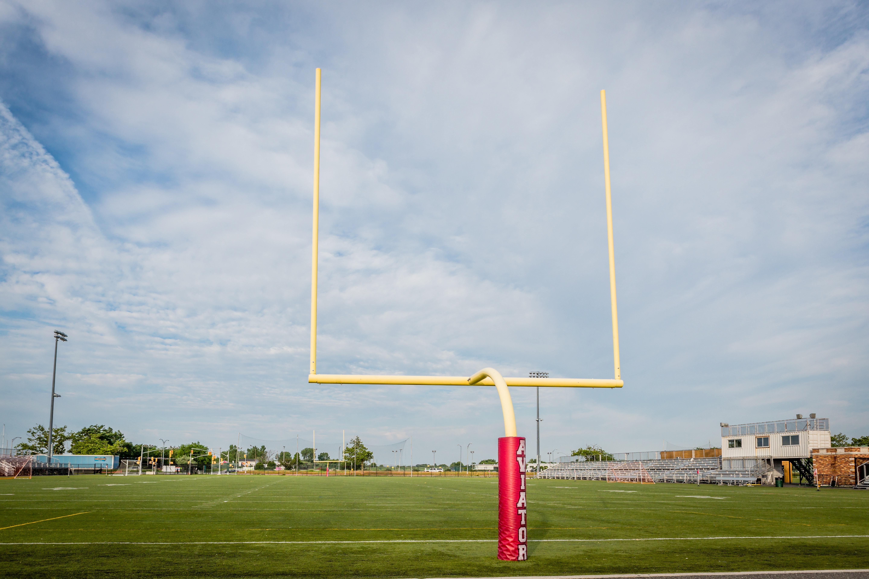 Goal posts of Aviator's outdoor turf field.