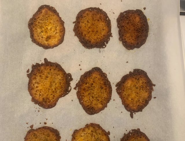 Cheese crisps out of oven