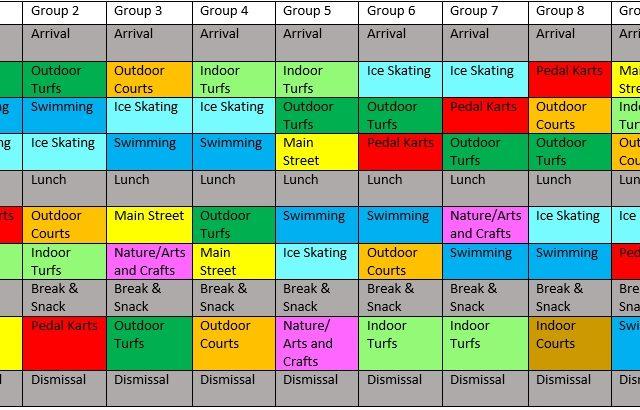2021 Summer Camp Schedule